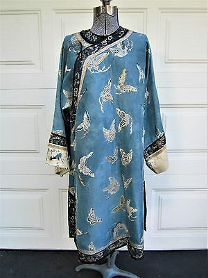 "Late 19th century antique Chinese Qing dynasty  brocaded silk robe 39"" l"