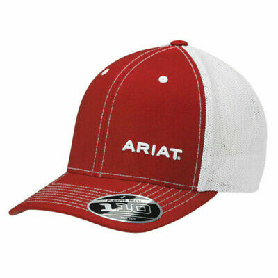 4e6daee7b3e ARIAT WESTERN MENS Hat Baseball Cap Flex Fit Pinstripe Mesh Brown ...