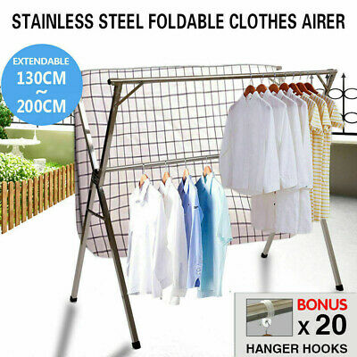 Stainless Foldable Clothes Airer Drying Rack Rust Resistant Hanger Sheet Dryer