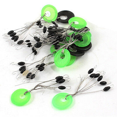 15pcs Green+Black Ring 6 in 1 Oval Rubber Float Stop Fishing Stopper