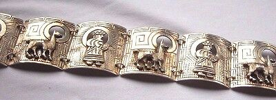 PERUVIAN STERLING 925 BRACELET  Story Teller Signed - 7 1/4inches  40 GRAMS