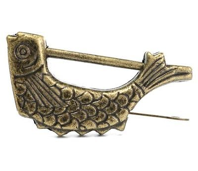 Retro Vintage Brass Chinese Old Style Fish Lock & Key Antique Collectible Gift ^
