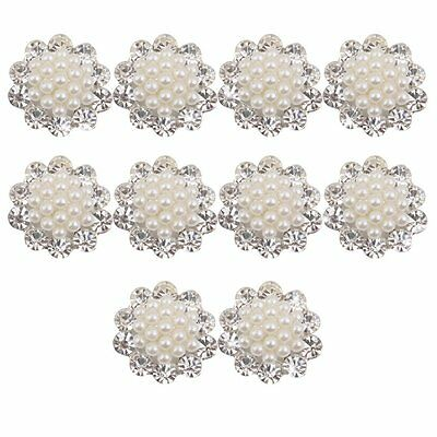 Faux Pearl Flower Buttons Craft Embellishments 20mm Pack of 10
