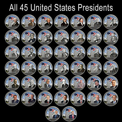 WR 44PCS Full Set of US Presidents Commemorative Coin Silver Foil Business Gifts