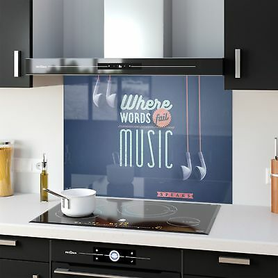 Kitchen Splashback Toughened Glass Heat Resistant Word Music 43327855 90x65cm