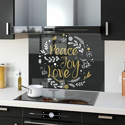 Kitchen Splashback Toughened Glass Heat Resistant Peace Love 45361926 90x65cm