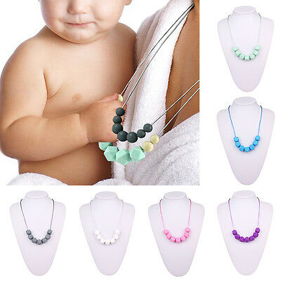Silicone Nursing Mom Necklace Teething Chewable Beads Baby Teether Shower Gift