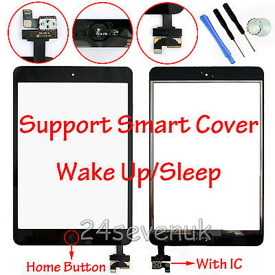 For Black Ipad Mini 1&2 Touch Screen Digitizer Front Glass Lens Replacement + Ic