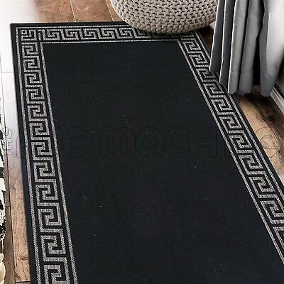 PARADISO BLACK GREEK KEY INDOOR OUTDOOR FLATWEAVE FLOOR RUG RUNNER 67x235cm *NEW