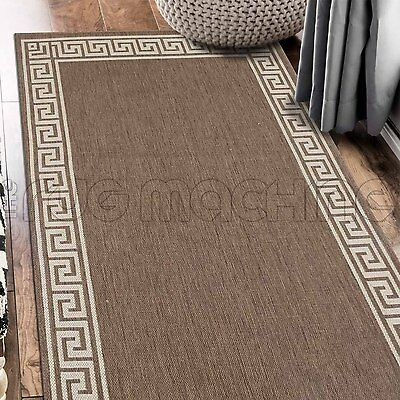 PARADISO BEIGE GREEK KEY INDOOR OUTDOOR FLATWEAVE FLOOR RUG RUNNER 67x235cm *NEW