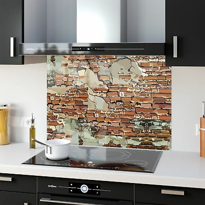 Kitchen Splashback Toughened Glass Heat Resistant Brick Wall 72387749 90x65cm
