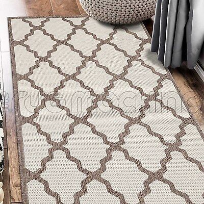 PARADISO CREAM MOROCCAN INDOOR OUTDOOR FLATWEAVE FLOOR RUG RUNNER 67x235cm **NEW
