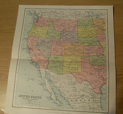 Antique Map Maps Paper United States West & East 1927 c 87 Years Old
