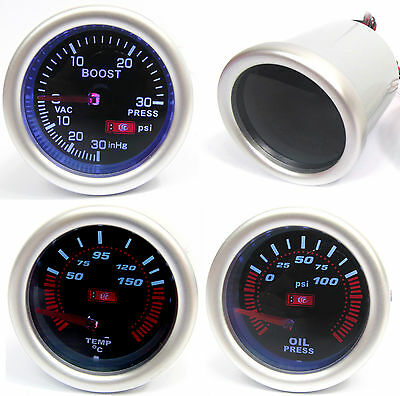 Universal 52mm Smoked Boost Psi + Oil Pressure & Temp Gauge with 1/8npt Sender