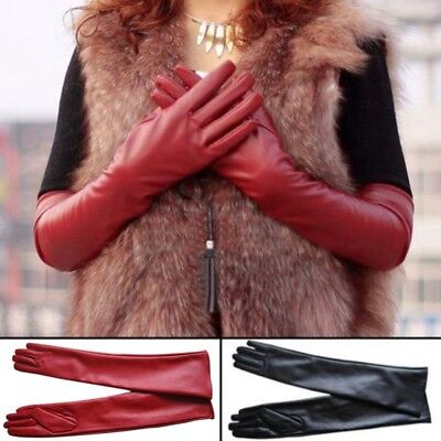 Ladies Women Long Leather Gloves New Winter Fashion Evening Party Full Finger