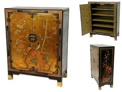 Asian Chinese Antique Cabinet Ethnic Style Wood Storage Chest Gold Furniture New