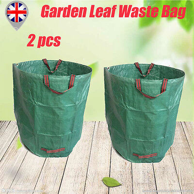 2 Garden Yard Leaves Waste Rubbish Bag 2 Handles Reusable Recycling Sack 50kg