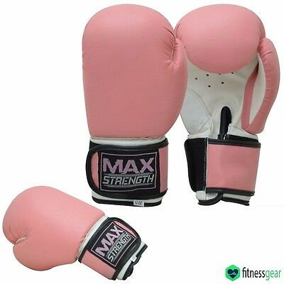 Ladies Boxing Gloves MMA Jab Women Gym Fight Training Sparring Girls Mitts Pink