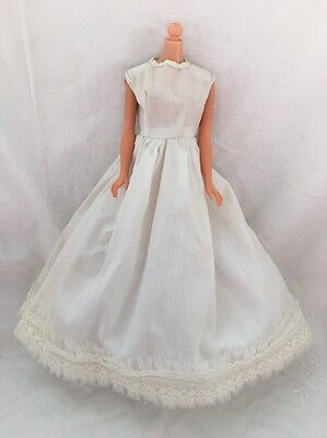 Vintage Barbie Doll Clone Knock Off Outfit WHITE  Gown Dress With LACE TRIM
