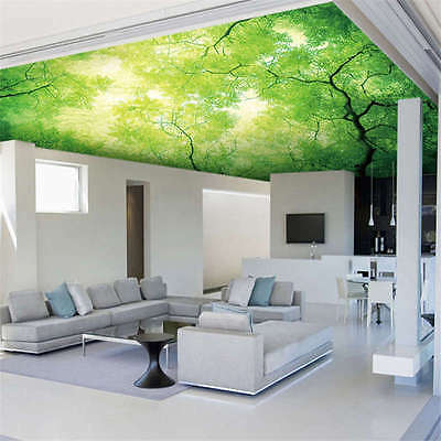 Sky Tree Green Leave Full Wall Ceiling Mural Photo Wallpaper Print Home 3D Decal