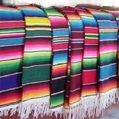 Large Authentic Mexican Serape Saltillo Blanket 7'/5' Home Decor Supply Bedding