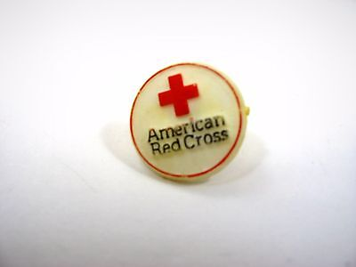 Vintage Collectible Pin: American Red Cross White Plastic