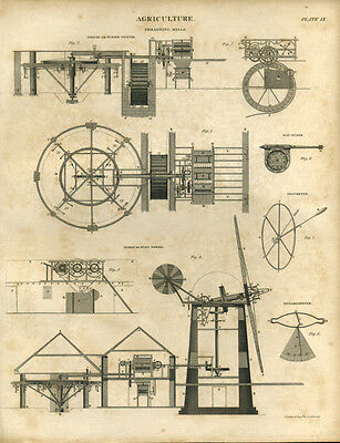 Antique print AGRICULTURE WINDMILL Thrashing Mill  copper plate engraving - 1842