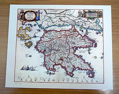 GREECE PELOPONNESE (MOREA) MAP 1638-1661(LAUREMBERG) Modern Reproduction