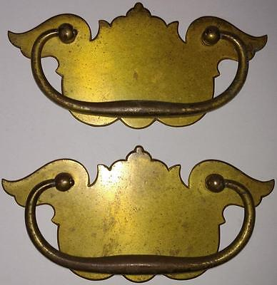 Pair Vintage Solid Brass Chippendale Wide Large Pulls Dresser Drawer Handles C25