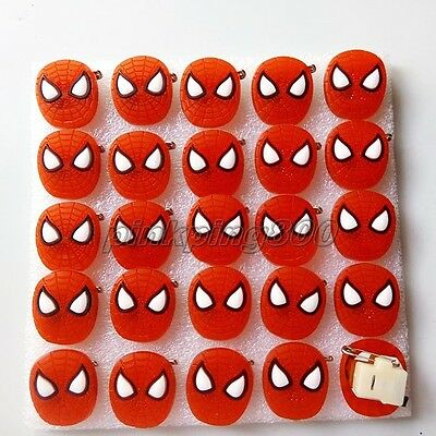Lot Spider-man Flashing LED Light Up Soft rubber Badge/Brooch Pins Party Gifts Q