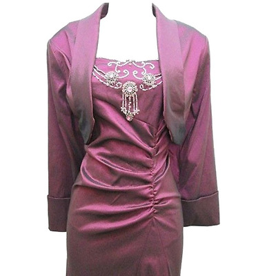 Adrianna Papell Wine 2 Piece Taffeta Beaded Long Gown Mother of Bride Dress NWT
