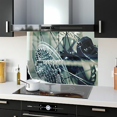 Kitchen Splashback Toughened Glass Heat Resistant Bicycle Gears 38970950 90x65cm