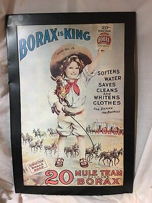 Original Vintage Borax is King 20 Mule Team Dry Soap Tin Sign 34 X 24