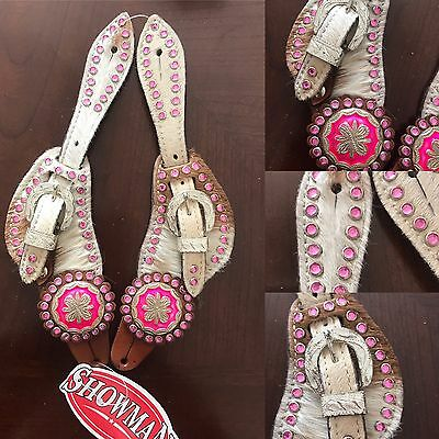Showman Women Western  Pink Bling Hairon Pure Leather Spur Straps Youth Tack New