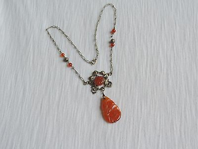 Antique Chinese Carved Carnelian Pierced Pendant Necklace Jewelry Angels (id234)