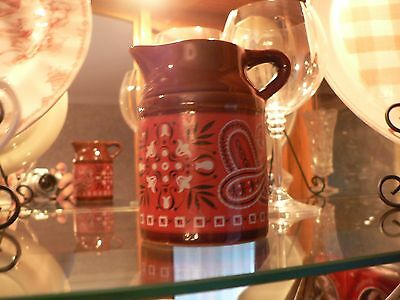 Vintage Red Bandanna Pitcher Brown Ceramic Made in Japan Farmhouse Decor