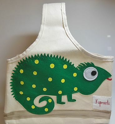 "3 Sprouts Canvas Storage Caddy Tote Green Iguana 11"" NWOT 524"