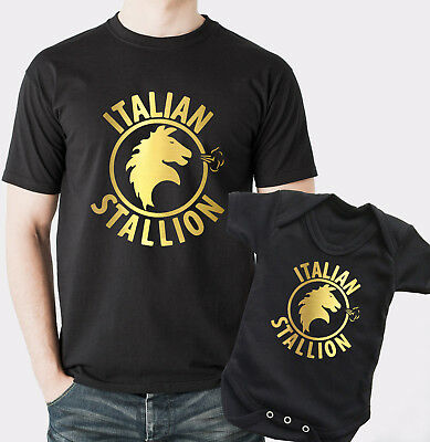 Rocky Balboa Italian Stallion Father t-shirt and baby bodysuit baby grow set