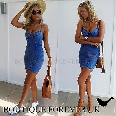 UK Womens Bodycon Denim Look Holiday Dress Ladies Party Mini Dress Size 6-14
