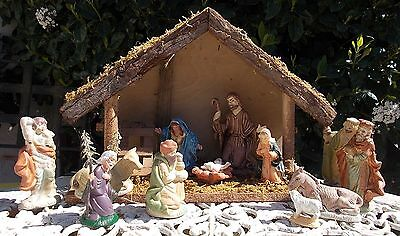Christmas crib  with figures, French vintage crib with santons