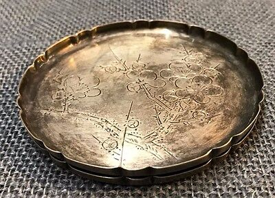Pair of Antique Coasters - 970 Sterling Silver - Tree & Flower - Sun Hallmark