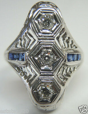 Antique Vintage Art Deco Engagement Ring 20K White Gold EGL USA Ring Size 6 Fine