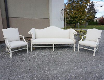 Fantastic set of Straight leg Chippendale Camel Back sofa and 2 chairs in white