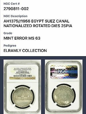 1956 Egypt, 25 Piastres, Mint Error, NGC MS 63, Extremely Rare, Population 2