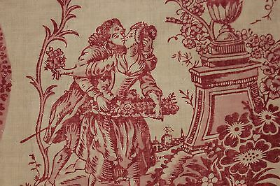 Antique French 18th century block print c1780 toile de Jouy textile quilted bed