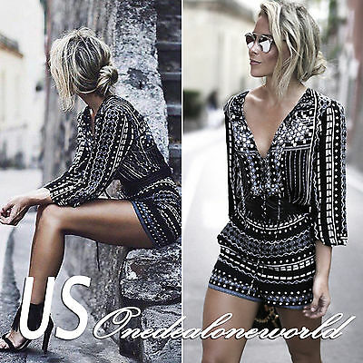 Womens Holiday Playsuit Ladies Summer Jumpsuit Romper Bodycon Clubwear Trousers