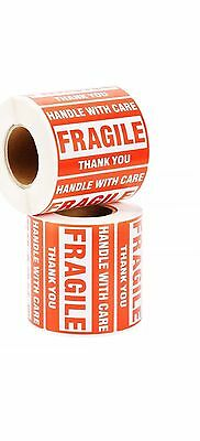 2 Rolls 2x3 Fragile Sticker Handle with Care Thank You Mailing Label 500/Roll