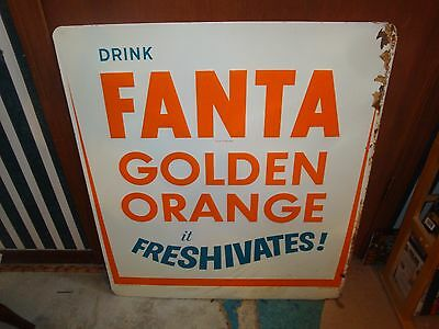 Fanta Sign 1960's Nos Made By Coke Coca Cola Drink Fanta Golden Orange