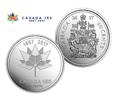 50 Cent (Half Dollar) Coins - 2017 Canada 150 & Coat of Arms (2 coins UNC)