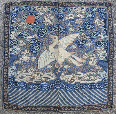 Antique Chinese textile 9th rank flycatcher badge Kossu Kesi tapestry silk #4758